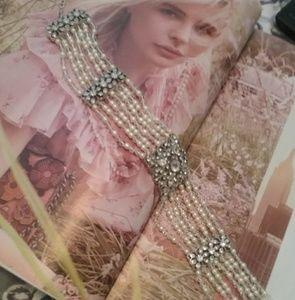 Vintage Monet pearl crystal & rhinestone choker
